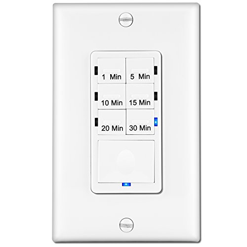Enerlites HET06A 1-5-10-15-20-30 Minutes Preset In-Wall Countdown Timer Switch, w Decorator Wall Plate, White (Power Outlet Countdown Timer compare prices)