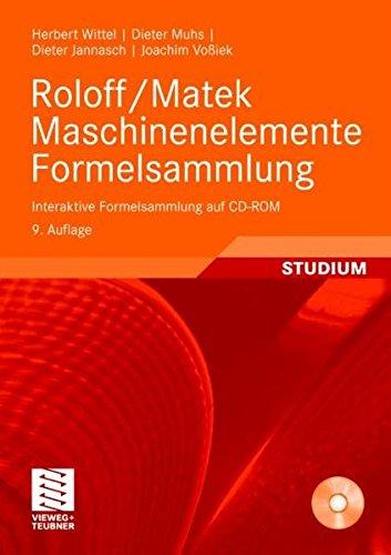 Roloff/Matek Maschinenelemente Formelsammlung: Interaktive Formelsammlung auf CD-ROM