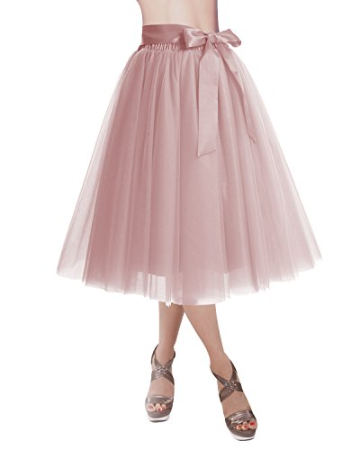 DRESSTELLS Knee Length Tulle Skirt Tutu Skirt Evening Party Gown Prom Formal Skirts Blush L-XL]()