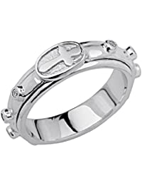 Ladies 925 Sterling Silver Polished Rhodium Religious Rosary / Rosario Spinning Prayer Ring