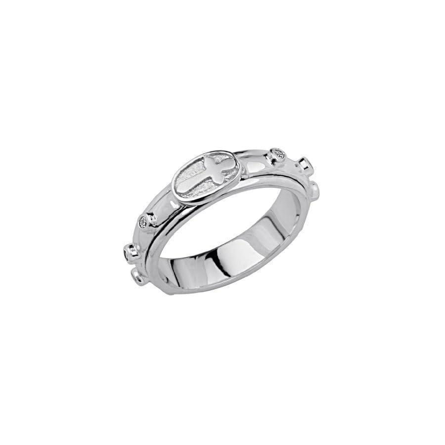 .925 Sterling Silver Rhodium Plated Rosary Spinning Prayer Ring