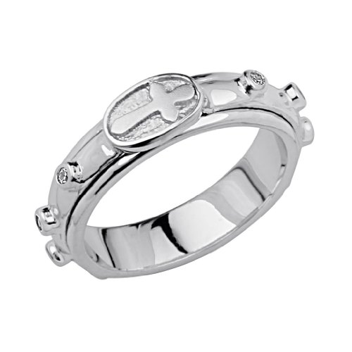 .925 Sterling Silver Rhodium Plated Rosary Spinning Prayer Ring