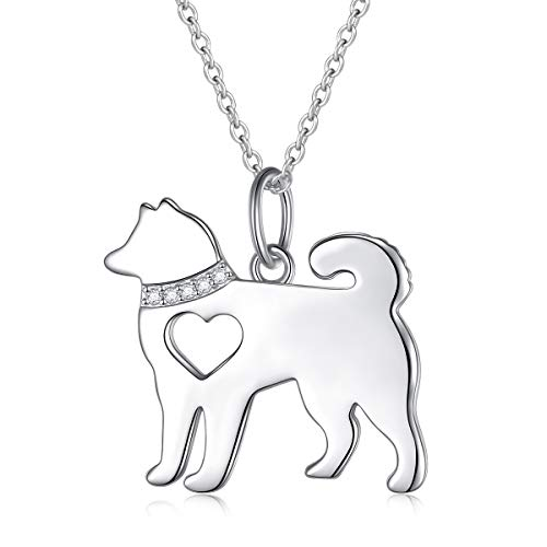 - FLYOW 925 Sterling Silver Hollow Heart Husky Dog Pendant Necklace Jewelry for Women Girls Birthday Gift, 18