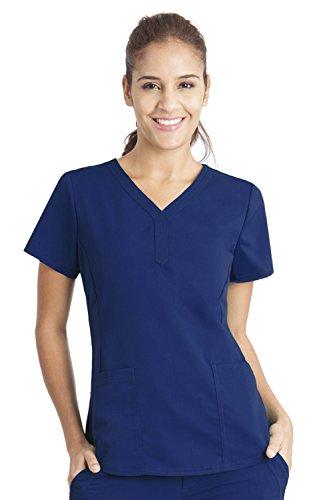 Navy Label (Purple Label by Healing Hands Scrubs Women's Jane V-neck 2 Pocket Top, Small - Navy)