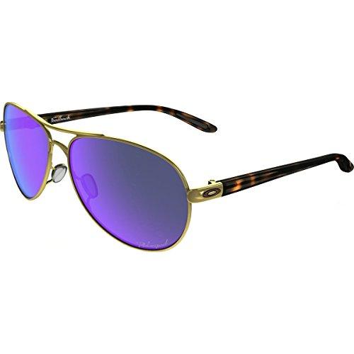 Oakley Women's Feedback Polarized Iridium Aviator Sunglasses, Polished Gold & Violet Iridium, 59 - Iridium Oakley Violet