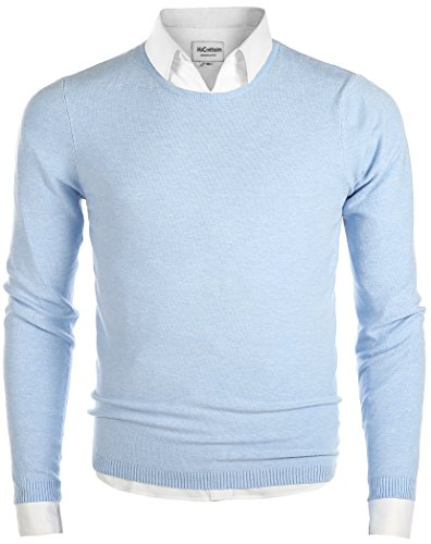Mocotono Men's Long Sleeve Crew Neck Pullover Knit Sweater Light Blue Small
