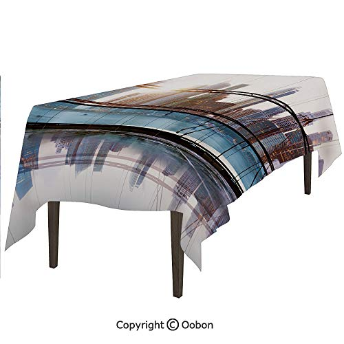 Space Decorations Tablecloth, Scenery of Modern Futuristic Metropolitan City with Skyscrapers, Rectangular Table Cover for Dining Room Kitchen, W60xL102 inch - Metropolitan Table Rectangular Dining