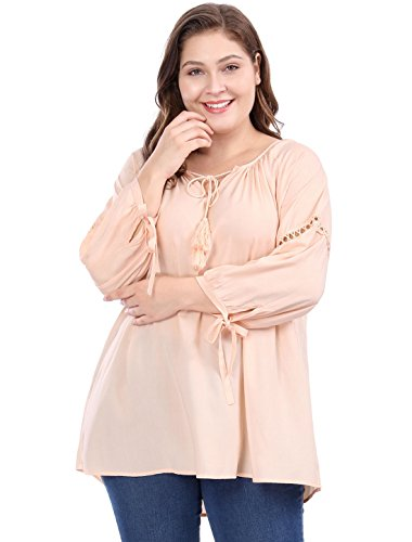 Agnes Orinda Women's Plus Size Raglan Sleeves Hollow Out Tie Neck Tunic Top 3X -