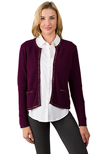 J CASHMERE Women's 100% Cashmere Long Sleeve Lace-Trim Crop Cardigan Plum Medium