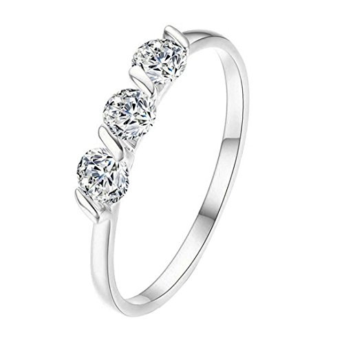 Botrong Crystal Ring for Womens (Ring Size 6, Silver)