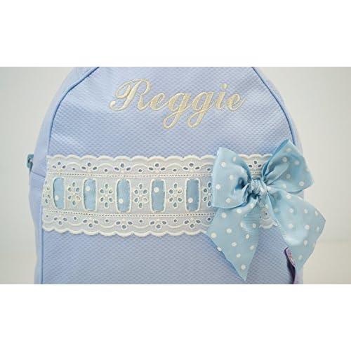 a03e460e3 Mochila o bolsa infantil lencera personalizada con nombre en plastificado y  pasacintas beige. Varios colores