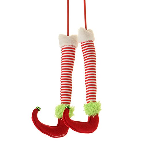 Red, White & Green Elf Legs (A Pair) - 12.5 Long - Christmas Tree, Garland or Arrangement Decoration - RAZ Imports - Peppermint Toy Theme by RAZ (Christmas Elf Toy)