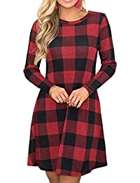 Women's Long Sleeve Plaid Color Block Casual Swing Loose Fit Tunic Dress with Pockets