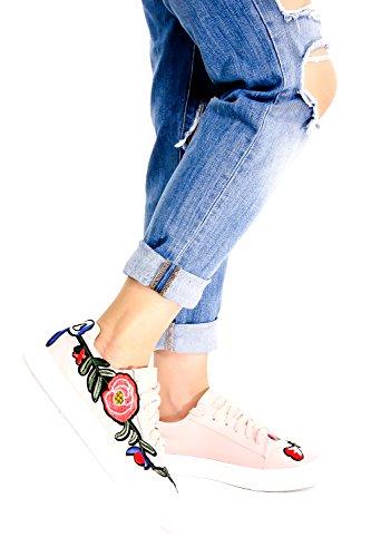 Lolli Couture Corre Mezza Misura Grande Suola In Gomma Punta Rotonda In Pizzo Alta Top Sneaker Rosapu