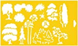 """12"""" x 7"""" (30cm x 17.5cm) Reusable Flexible Plastic Stencil for Cake Design Decorating Wall Home Furniture Fabric Canvas Decorations Airbrush Drawing Drafting Template - 1:100 Scale Trees Landscape Scenario Garden Forest Design Shapes"""