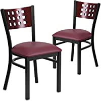 Flash Furniture 2 Pk. HERCULES Series Black Cutout Back Metal Restaurant Chair - Mahogany Wood Back, Burgundy Vinyl Seat