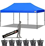 ABCCANOPY 10x20 Straight Leg Pop-up Canopy Commercial Grade Instant Canopy Black Roller Bag Bonus 6X Weight Bag (10x20 Royal Blue)