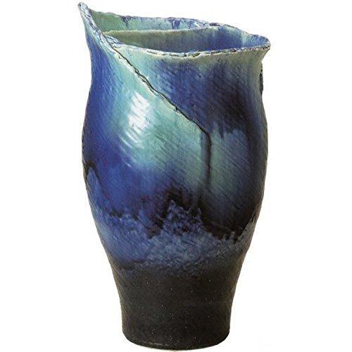 信楽焼 ブルーガラスひねり花器23号(全高71cm×全幅40cm) B07DGRRJ33