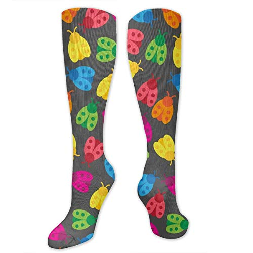 (Oswz Rainbow Ladybugs Graduated Compression Socks for Men & Women Best Stockings for Nurses, Travel, Running, Maternity Pregnancy)