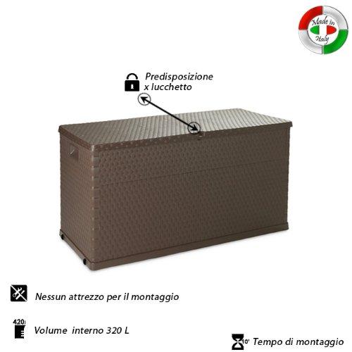 WEBMARKETPOINT Baule multiuso cassapanca in resina per esterno ed interno 120x57