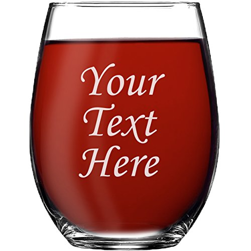 Personalized 15oz Stemless Wine Glass - Engraved With Your Custom Text ()