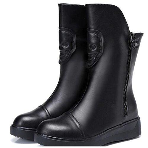 Hsxz Chaussures En Cuir Véritable Bottes De Mode Automne Hiver Bottes Pour Femmes Bottes Mi-mollet Pour Le Noir Noir Occasionnel
