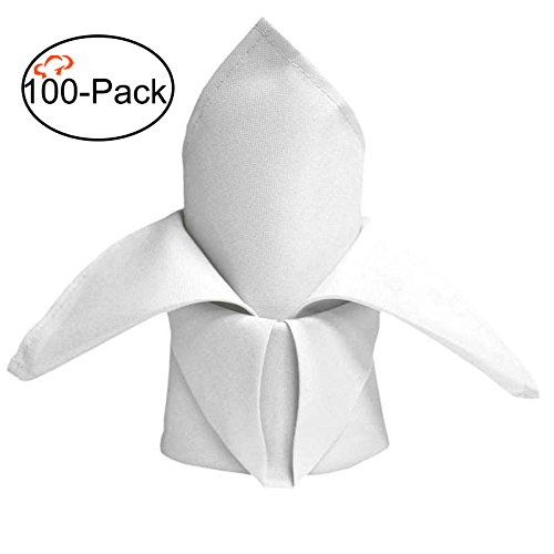 Tiger Chef 100-Pack 20-inch White Hemmed Linen Cloth Oversized Dinner Napkins, Machine Washable, Solid Colored Table Linens for Birthday Parties, Wedding, Graduations - Includes Folding ()