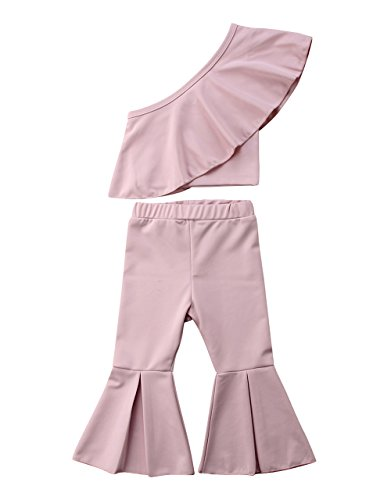 Greenafter Baby Kids Girl Ruffle Romper Jumpsuit Overalls Bell Casual Long Pants (Light Pink(one Shoulder), 1-2Years) by Greenafter