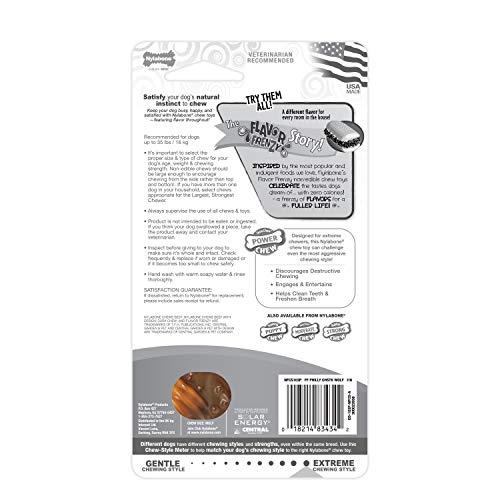 Nylabone Flavor Frenzy Dura Chew Power Chew Philly Cheesesteak Flavored Bone Dog Chew Toy, Wolf, Up to 35 lbs