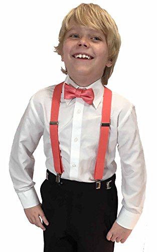 The Color Coral (Spencer J's Boys X Back Suspenders & Bowtie Set Variety of Colors (Coral))