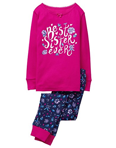 Gymboree Little Girls Graphic Tight Fit Pajamas  Sister  10
