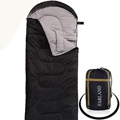 FARLAND Camping Sleeping Bag-Envelope Mummy Outdoor Lightweight Portable Waterproof Perfect for 20 degree Traveling,Hiking Activities(Dark Grey/Left Zip, Rectangular)