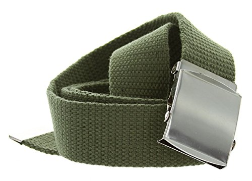 Olive Genuine Belt (Hagora Men Solid Color Durable Canvas Fabric 1-1/2