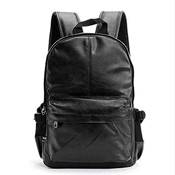 liningfashion marca Vintage hombres negocios Mochilas de cuero mochila escolar para adolescente Casual Laptop viaje hombro bolsas mochila, negro: Amazon.es: ...