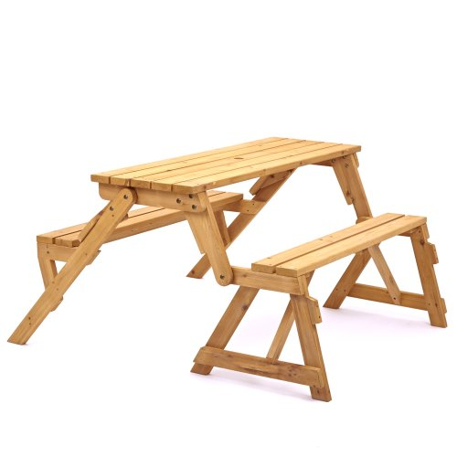 Trueshopping Modbury Two In One Convertible Garden Bench And Picnic Table  Simple Conversion From Bench To Table And Benches With Provision For  Parasol: ...