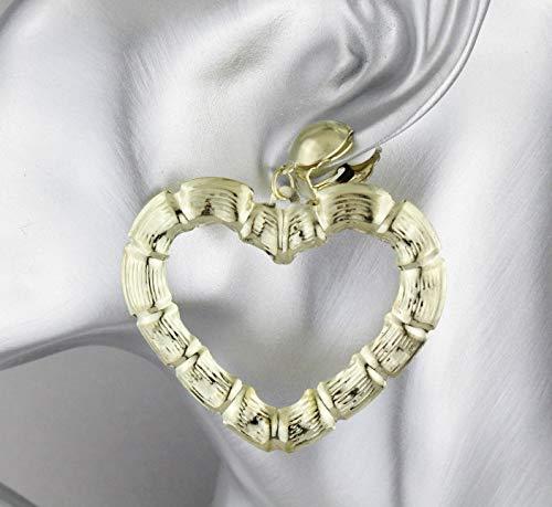 (Gold Heart Clip On Clips earrings hoop bamboo earrings door knocker )
