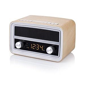 Smartwares RD-1535 – Radio retro, Bluetooth, USB, entrada auxiliar, función de alarma