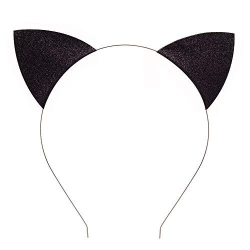 Lovely Children and Baby Glitter Kitten Ears Headband Cat Ears Children Hair Bands (Black)]()