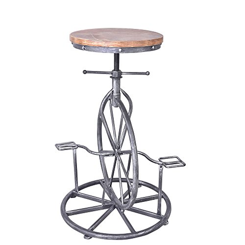 Vintageliving Industrial Bar Stool Bicycle Wheel Pedal