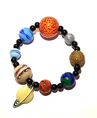 Solar System Bracelet Jewelry – Galaxy Space Solar System Planet Universe Earth Astronomy Beads Bracelet – Handmade Stretch Charm Bracelet Gift for Women in Gift Box with Organza Bag ()