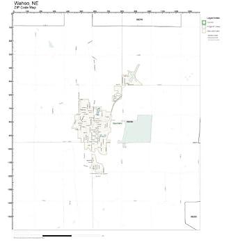 Amazon Com Zip Code Wall Map Of Wahoo Ne Zip Code Map Laminated