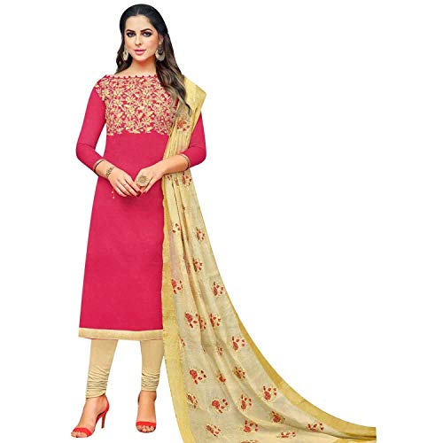 Ladyline Kora Silk Embroidered Salwar Kameez with Silk Embroidered Dupatta Ready to wear Salwar Suit Pink
