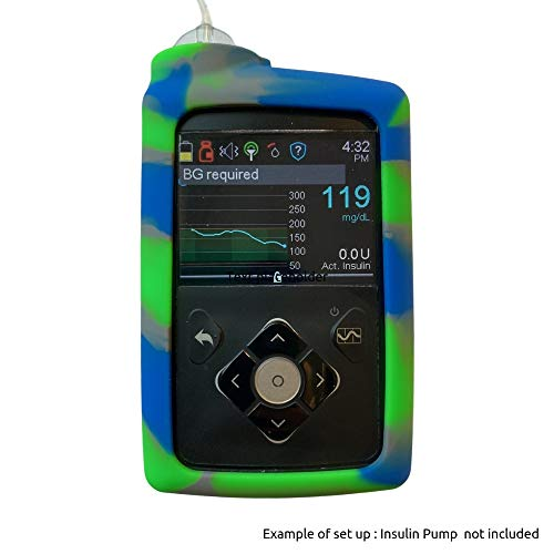 Gel Skin for MedtronicTM Insulin Pump: Soft Silicone Cover is Compatible for use with The MiniMedTM 630G and MiniMedTM 670G Insulin Pumps (Blue/Neon Green)