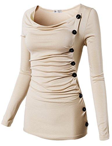 H2H Women's Long Sleeve Shawl Collar Hooded Sweartshirt Top Tee Beige US XL/Asia XL (Ruched Shawl)