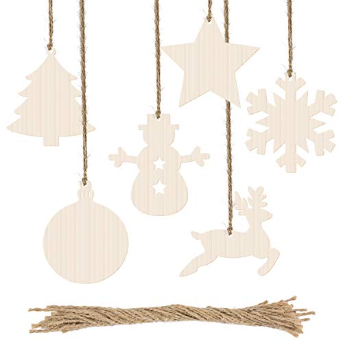 Biubee 60 Pcs Christmas Wooden Cutouts- Christmas Wood Slices Wooden Hanging Ornaments with Jute Twine for Kids Crafts, Wedding Festival Christmas Tree Embellishments -