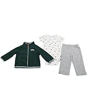 Carter's Baby Boy Size 12 Months 3-Pc Sweatsuit Set Gray & Green