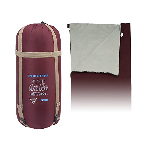 Forbidden Road 380T Nylon Portable Sleeping Bag Single 0 ℃/ 30 ℉(5 Colors) Lightweight Water Resistent Envelope Man Woman 4 Seasons Camping, Hiking, Backpacking (WINE RED, 0℃ / ()
