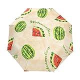 DOENR Compact Travel Umbrella Watermelon Sun and Rain Auto Open Close Lightweight Portable Folding Umbrella