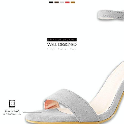 Dailyshoes Donna Sandalo Con Tacco Grosso Sandali Open Toe Con Fibbia Cinturino Alla Caviglia Scarpe Da Sera Party Grigio Camoscio