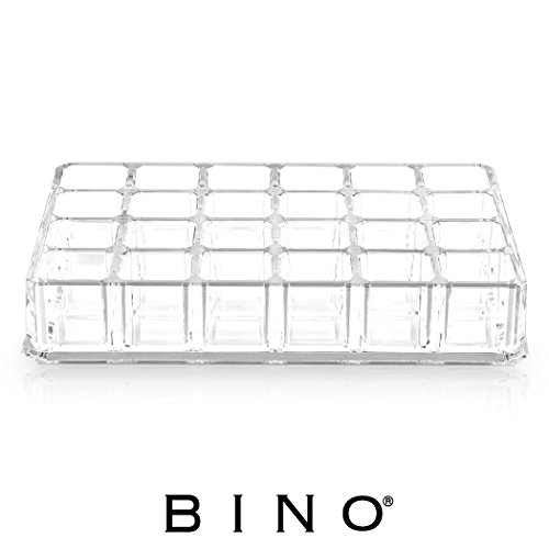 BINO Lipstick Junkie 24 Compartment Acrylic Lipstick Organizer, Clear and Transparent Cosmetic Beauty Vanity Holder Storage